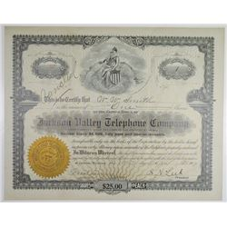 Jackson Valley Telephone Co. 1907 I/C Stock Certificate