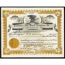 Kemmerer-Big Piney Telephone Co. 1907 Stock Certificate
