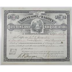 Minnesota and Dakota Building and Loan Association 1891 I/U Stock Certificate