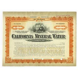 California Mineral Water Co. 1907 Specimen Stock Certificate