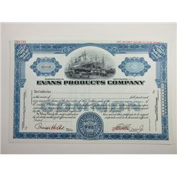 Evans Products Co., 1920-30's Specimen Stock Certificate