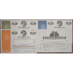 Pepsi-Cola Co., 1930 Progress Proof and 1980's, PepsiCo Inc. Specimen Bond Quartet