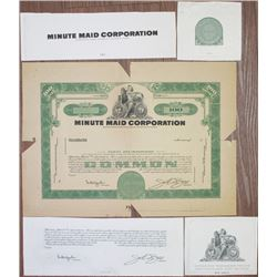 Minute Maid Corp., 1950-60'sd Proof Stock Certificate & Proof Vignette Design Elements