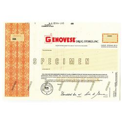 Genovese Drug Stores, Inc. 1986 Specimen Stock Certificate Odd Shrs XF ABN