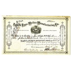 Zenith Type-Writer Manufacturing Co. 1892 Stock Certificate