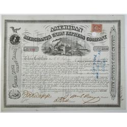 American Merchants Union Express Co. 1868 I/C Stock Certificate Signed by William Fargo.