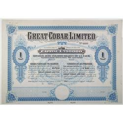 Great Cobar Ltd., 1908 Specimen Share Certificate