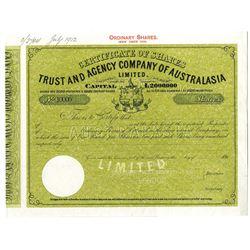 Trust and Agency Co. of Australasia Ltd. 1912 Specimen Stock Certificate