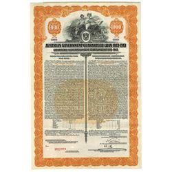 Austrian Government Guaranteed Loan 1923 Specimen Bond.