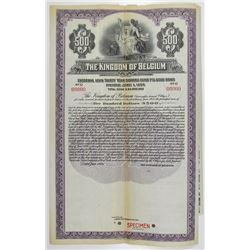 Kingdom of Belgium, 1925 Specimen Bond