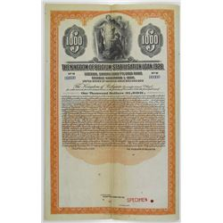 Kingdom of Belgium Stabilisation Loan, 1926 Specimen Bond