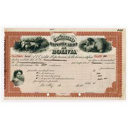 Credito Hipotecario De Bolivia, 1860-80 Specimen Certificate used as a Production Model.