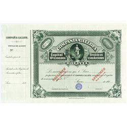 Compania Gallofa, 1890's, Specimen Share Certificate