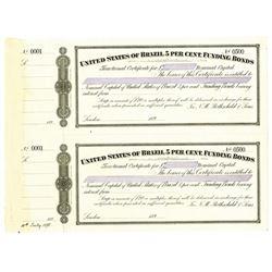 United States of Brazil 5% Funding Bonds, ca.1890's Uncut Specimen Bond Pair.
