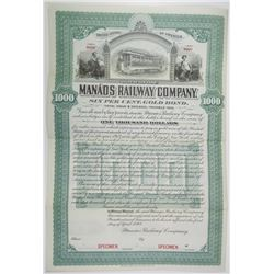 Manaos Railway Co., 1898 Specimen Bond Rarity