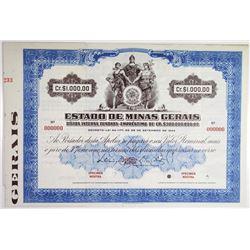 Estado de Minas Gerais 1947 Specimen Bond