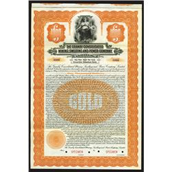 Granby Consolidated Mining, Smelting and Power Co. Ltd., 1920 Specimen Bond