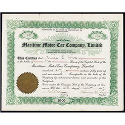 Maritime Motor Car Co., Ltd. 1917 I/U Stock Certificate