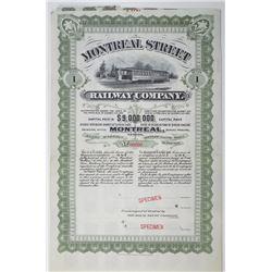 Montreal Street Railway Co., ND (1900-1910) Specimen Share Certificate