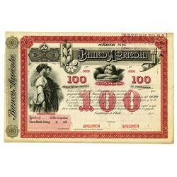 Banco Agricola, 1880's Specimen Coupon Bond.