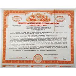 Compania Salitrera Anglo-Lautaro 1956 Specimen Bond