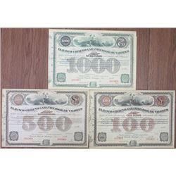 El Banco Chileno Garantizador de Valores, 1900-1920 Specimen Bond Trio