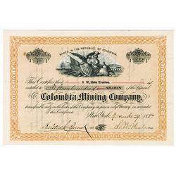 Colombia Mining Co., 1887  I/U Stock Certificate
