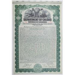 Colombia. Department of Caldas, 1926 I/U Gold Coupon Bond