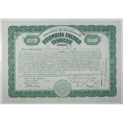 Colombian Emerald Syndicate Ltd. 1922 I/U Stock Certificate