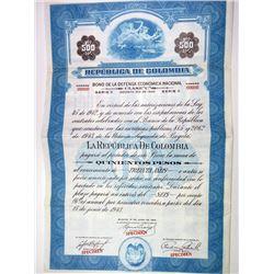 Republica de Colombia 1943 Specimen Bond