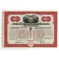 Credit Foncier Cubain, Banco Territorial de Cuba 1912 Specimen Bond.