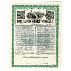 Havana Wharf and Storage Co., 1908 Specimen Bond