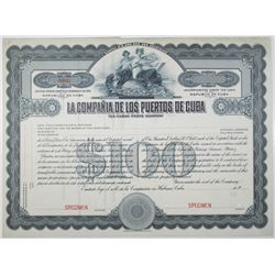 La Compania de los Puertos de Cuba, 1911 Specimen Bond