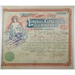 Lonja del Comercio de la Habana 1928 Issued & Transferred Stock Certificate