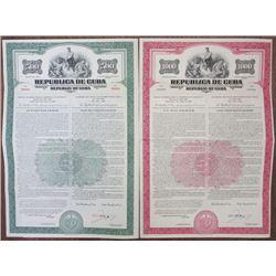 Republic of Cuba, Economic and Social Development Bond Issue, 1955 Specimen Bond Pair