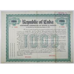 Republic of Cuba, Temporary Certificate of Speyer & Co. 1904 Specimen Bond