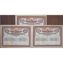 Union Hispano-Americana de Seguros, 1910-30's Stock Certificate Trio