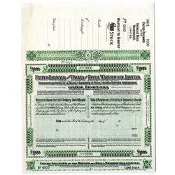 United Railways of the Havana and Regla Warehouses, Ltd., 1927 Specimen Share Certificate.