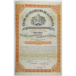 Excmo Ayuntamiento de la Ciudad de la Habana 1879 Specimen Bond