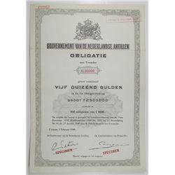 Gouvernment van de Nederlandse Antillen, Curacao, 1949 Specimen Bond