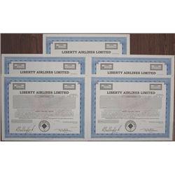 Liberty Airlines Ltd., 1990 Specimen Stock Certificate Quintet