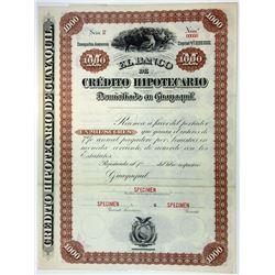 Banco de Credito Hipotecario, 1900-1920's Specimen Bond