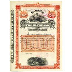 El Banco Territorial Domuciliado en Guayaquil, 1890's Specimen Bond
