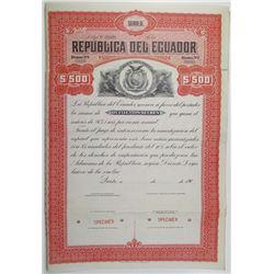 Republica del Ecuador 1907 Specimen Bond