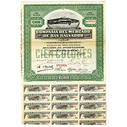 Compania del Mercado de San Salvador 1928 Specimen Bond