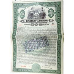 Republic of El Salvador 1923 Specimen Bond
