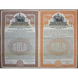 Finnish Guaranteed Municipal Loan of 1924, Specimen Bond Pair