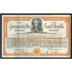 Government of the French Republic 1917 Specimen Bond