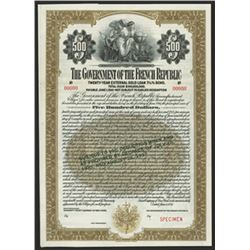 Government of the French Republic, 1921 (Reissued in 1937) Specimen Bond.