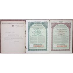 German Banking Specimen Bond Pair from 1928 With Correspondence.